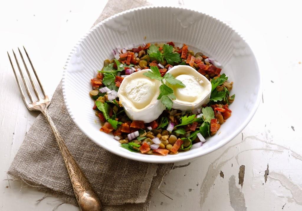 linsesalat med gedeost opskrift