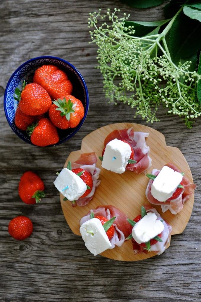 danske jordbær med parmaskinke