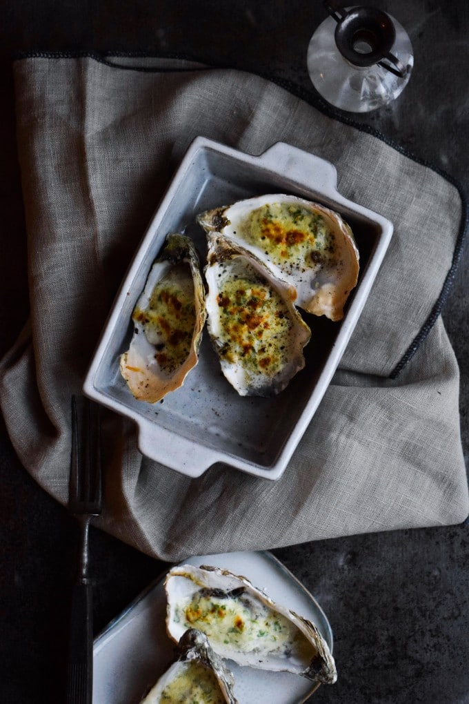 gratinerede oesters